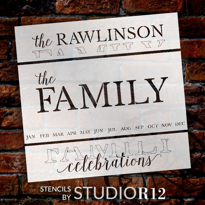 Personalized Family Celebrations Calendar Stencil by StudioR12 | Custom Last Name | DIY Home Decor | Craft & Paint Wood Signs | Size (27 x 13 inch)