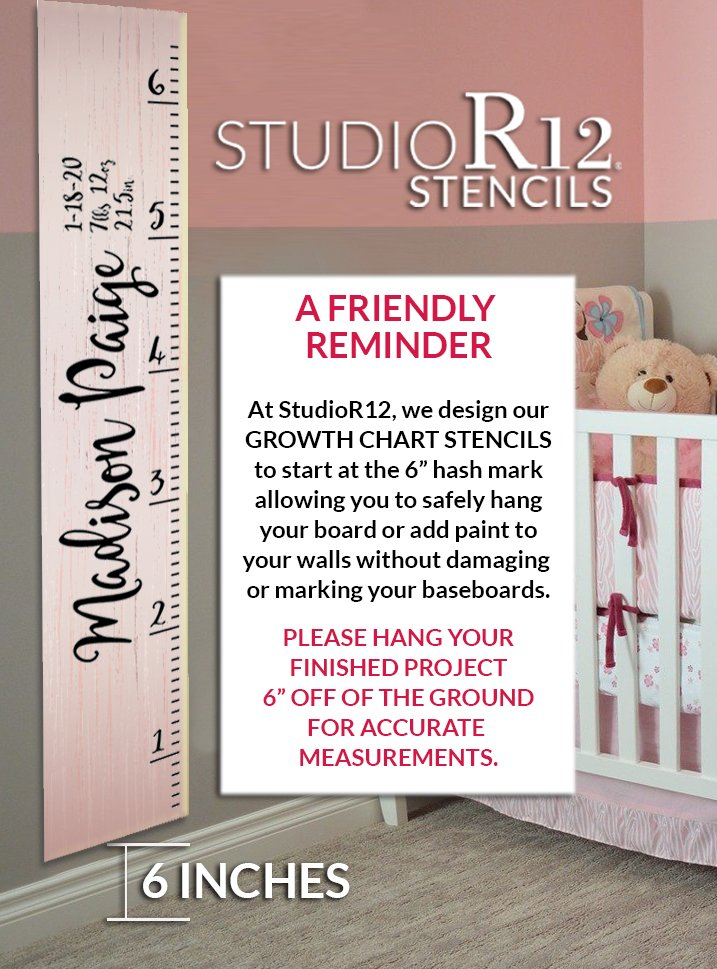 Personalized Family Growth Chart 4 Part Stencil by StudioR12   DIY Child Bedroom & Nursery Decor   Craft & Paint Giant Ruler Wood Signs   Size (6 ft)