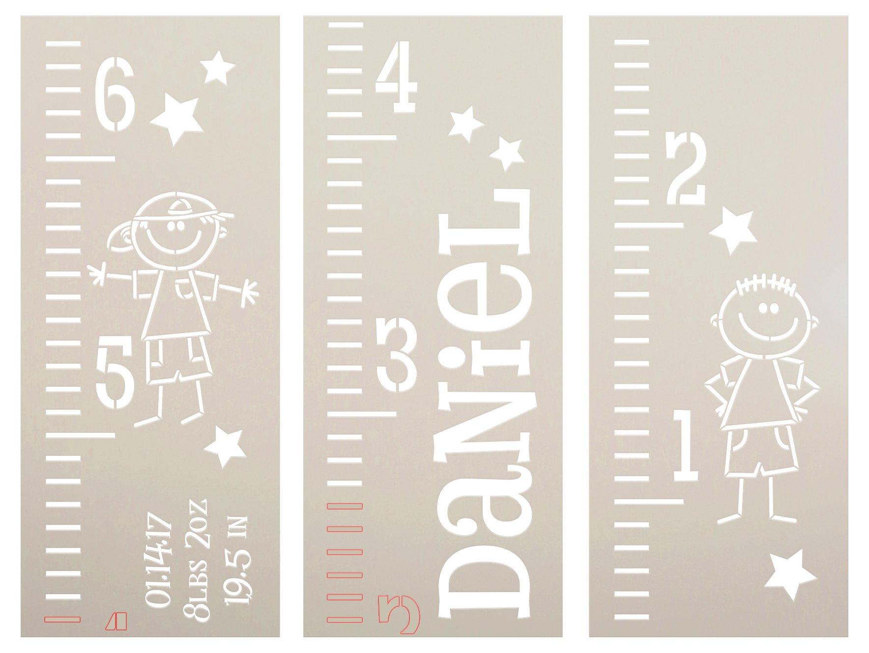 Personalized Boy Growth Chart Ruler 3-Part Stencil by StudioR12 | DIY Bedroom & Nursery Wall Decor | Craft & Paint Tall Wood Signs | Size (6 ft)