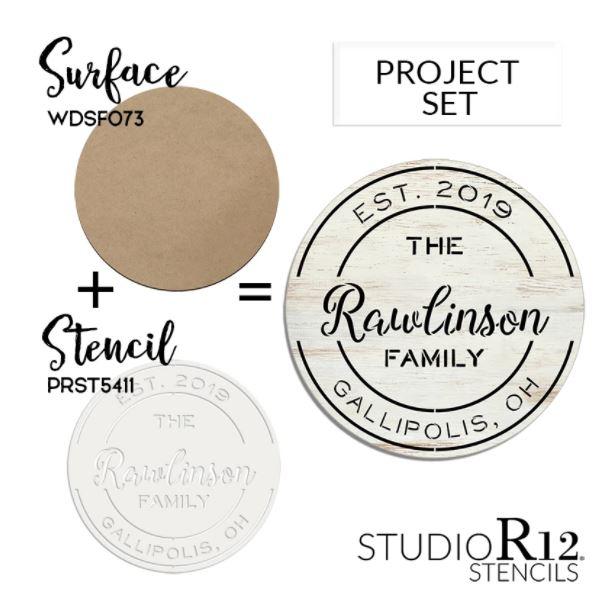 Round Vintage Postmark Stencil Project Set | CMBN522_3