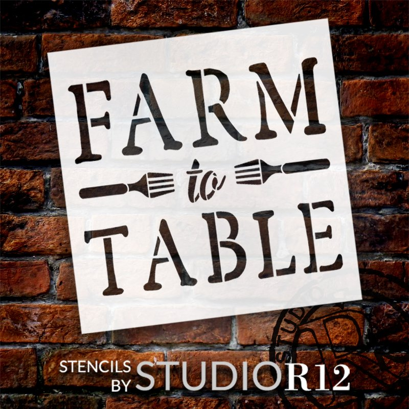 Farm to Table Stencil with Forks by StudioR12 | DIY Farmhouse Kitchen & Home Decor | Craft & Paint Rustic Wood Signs | Select Size