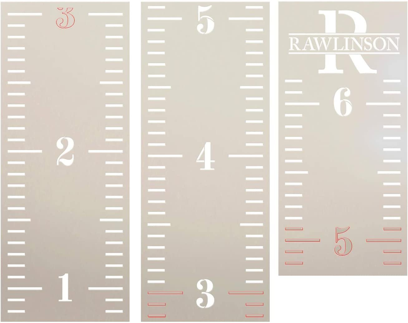 Personalized Monogram Growth Chart Ruler 3-Part Stencil by StudioR12   DIY Bedroom & Nursery Wall Decor   Craft & Paint Tall Wood Signs   Size (6 ft)