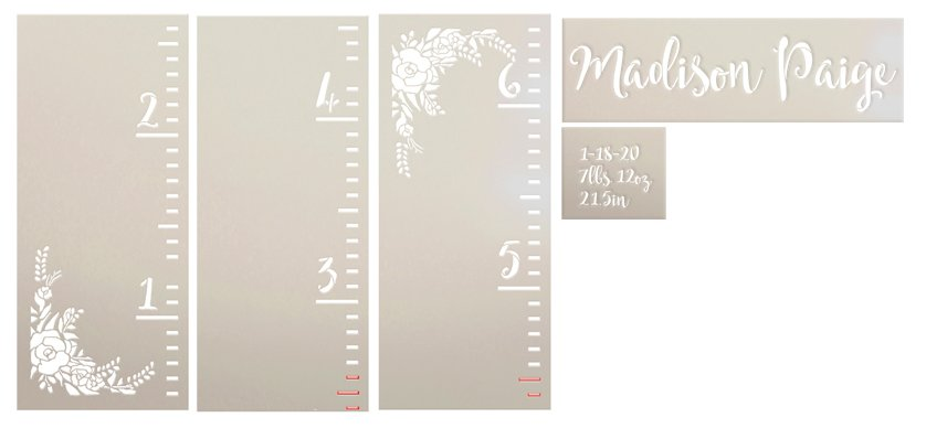 Personalized Name Growth Chart 3-Part Stencil with Boho Flowers by StudioR12   DIY Bedroom & Nursery Wall Decor   Paint Tall Wood Signs   Size (6 ft)