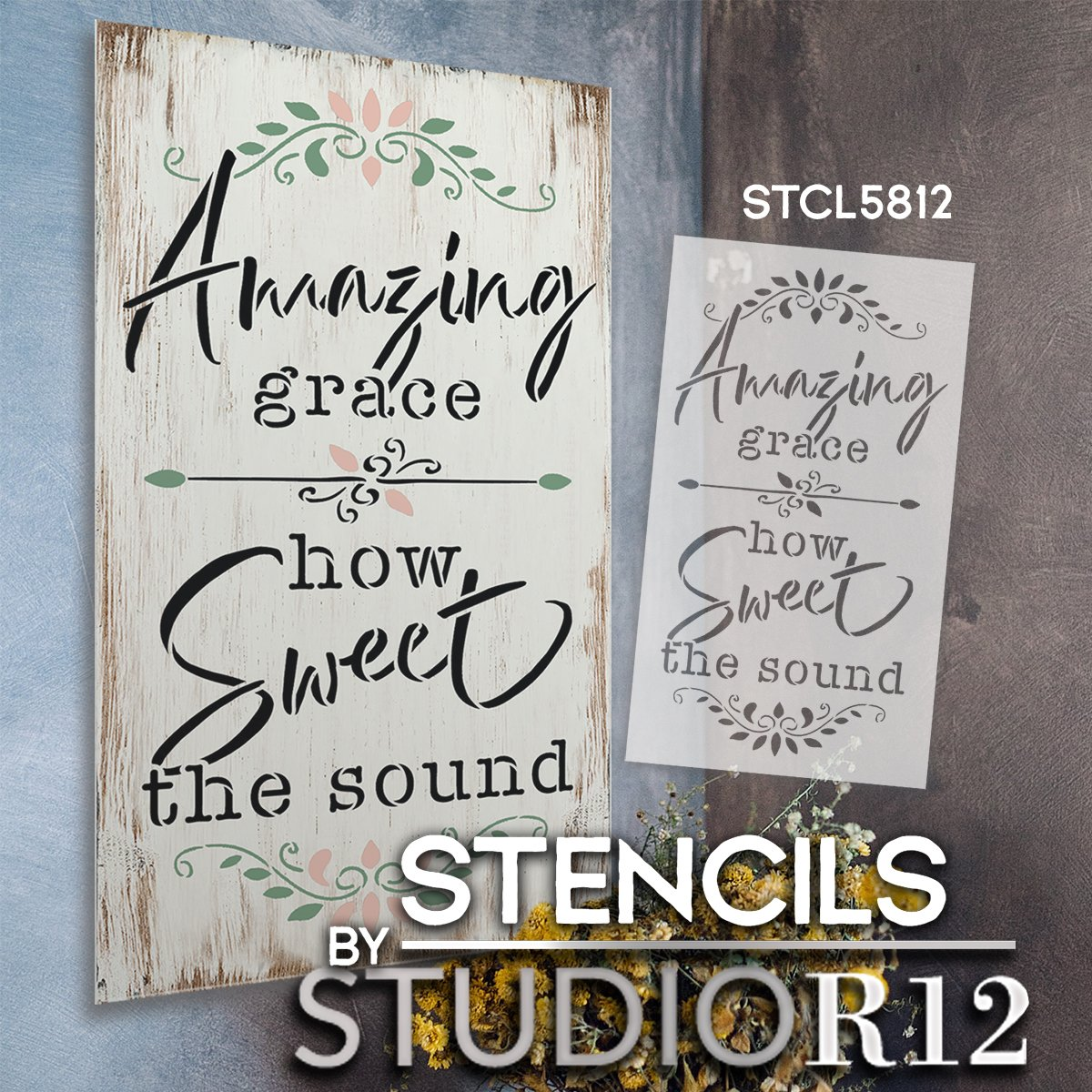 Amazing Grace How Sweet The Sound Stencil by StudioR12 | DIY Faith Home Decor | Hymn Lyrics | Craft & Paint Wood Signs | Select Size