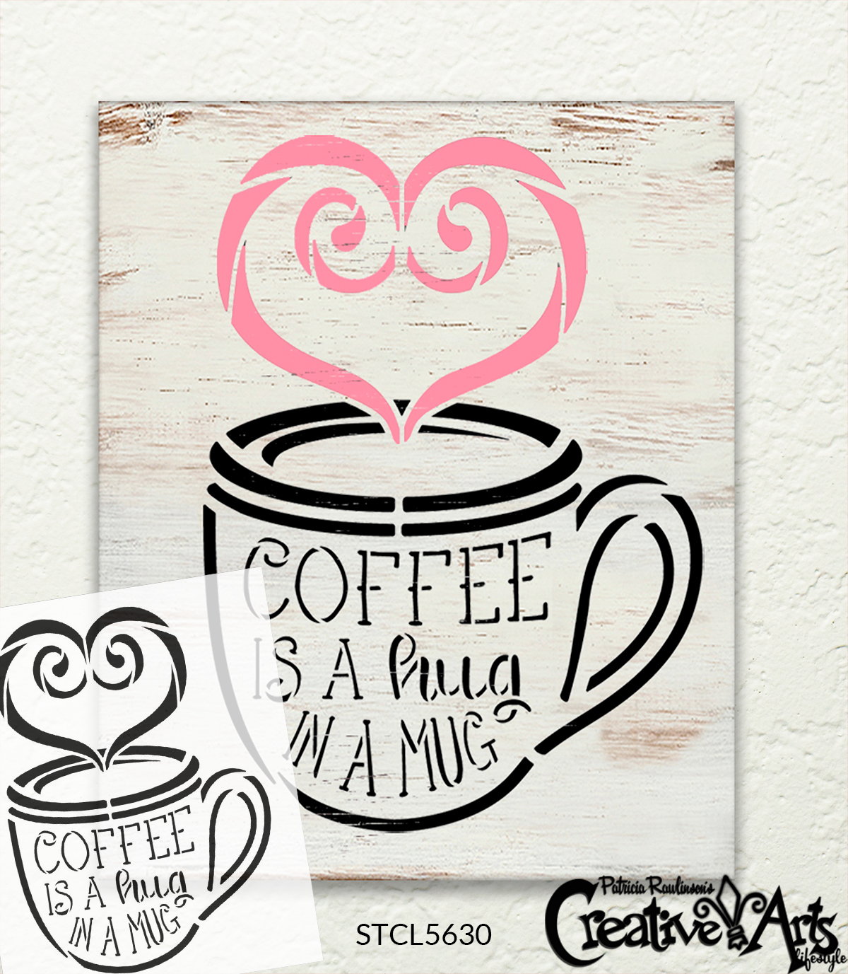 Coffee is A Hug in A Mug Stencil with Heart by StudioR12 | DIY Kitchen Decor | Coffee Lover Word Art | Paint Wood Sign | Select Size