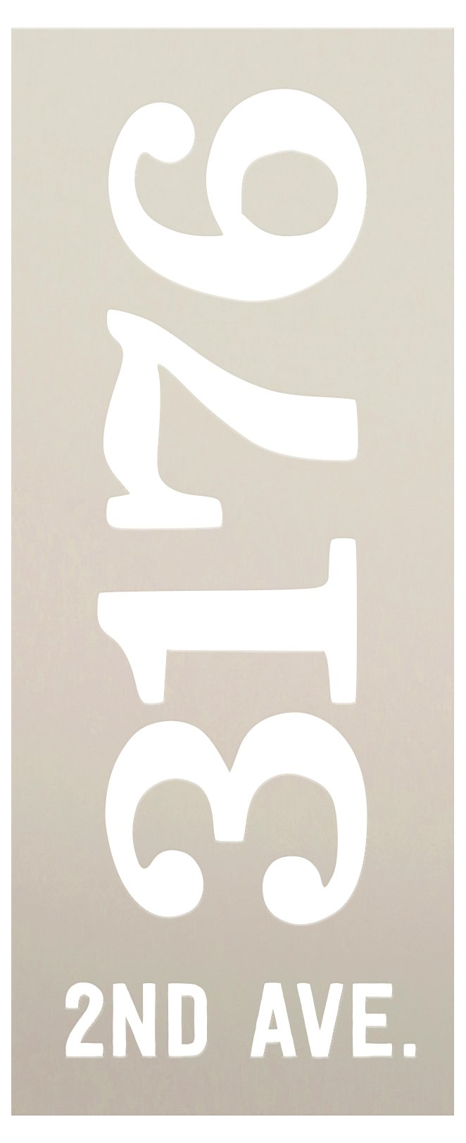 Personalized Vertical Farmhouse Address Stencil by StudioR12   DIY Outdoor Home Decor   Custom House Number Wood Sign   Select Size