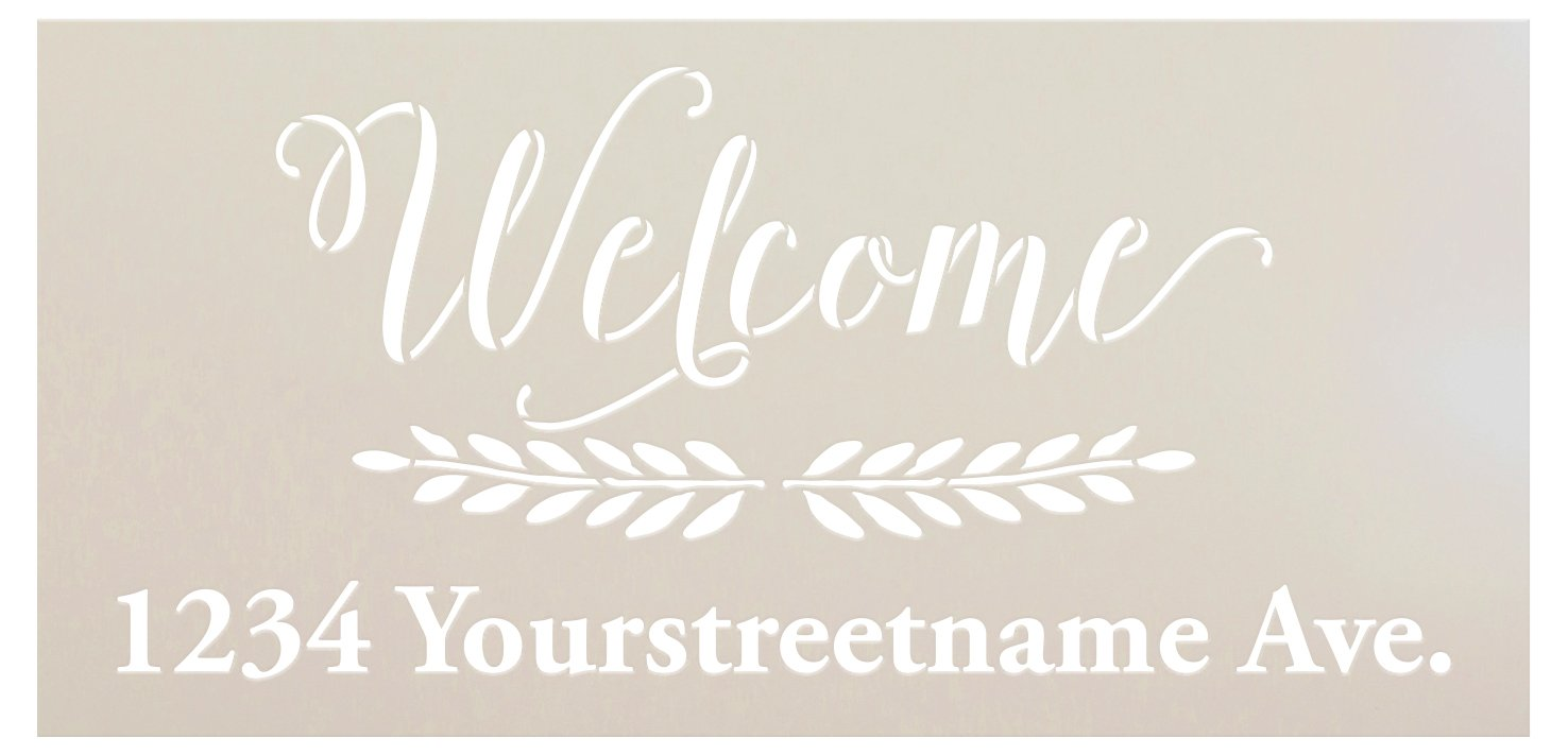 Personalized Welcome Address Stencil with Laurels by StudioR12 | Custom House Number Wood Signs | DIY Home Decor | Select Size