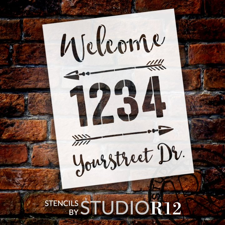 Personalized Welcome Script Address Stencil with Arrows by StudioR12 | Craft & Paint DIY Custom House Number Wood Sign | Select Size