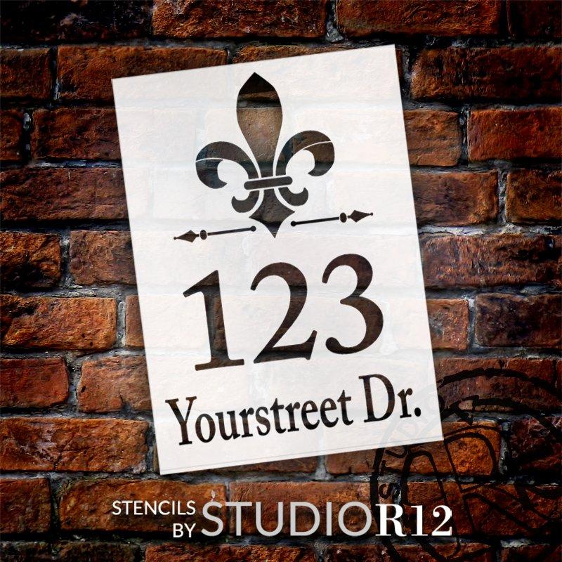 Personalized Fleur De Lis Script Address Stencil by StudioR12 | Craft & Paint DIY Custom House Number Wood Sign | Select Size