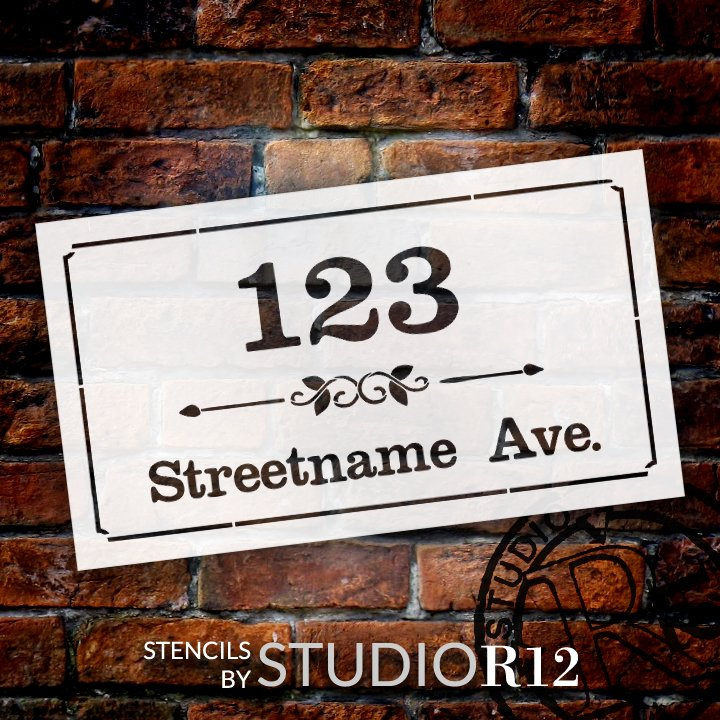 Personalized Country Style Address Stencil by StudioR12 | Paint Custom House Number Wood Sign | DIY Outdoor Home Decor | Select Size