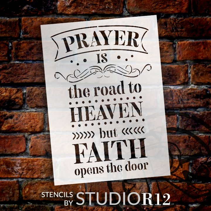 Prayer is The Road to Heaven Stencil by StudioR12   DIY Inspirational Faith Quote Home Decor   Paint Wood Signs   Select Size