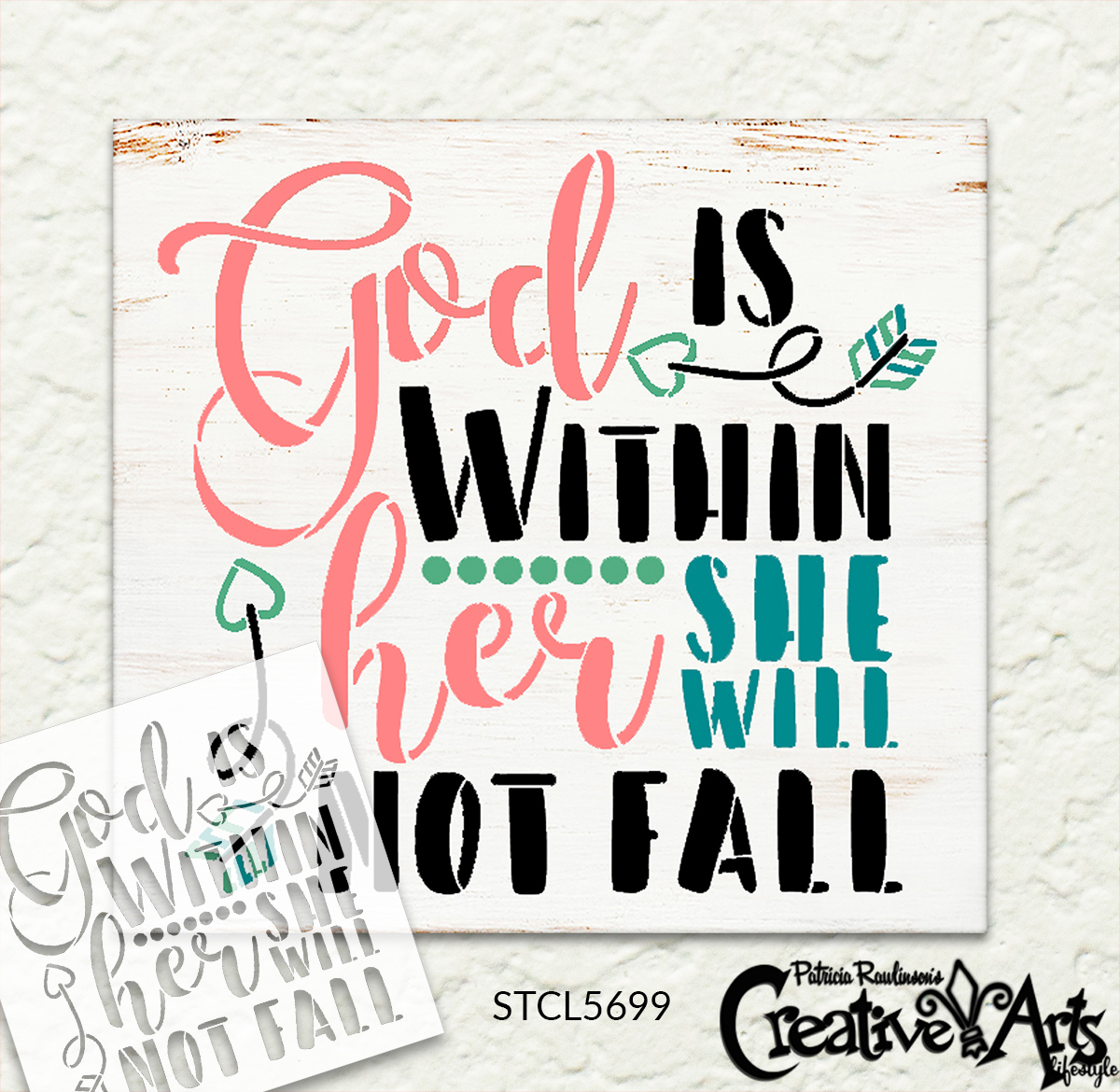 God is Within Her She Will Not Fall Stencil by StudioR12 | Psalm 46 Bible Verse Quote | DIY Home Decor for Women - Girls | Craft & Paint Encouraging Wood Sign | Reusable Mylar Template | SELECT SIZE