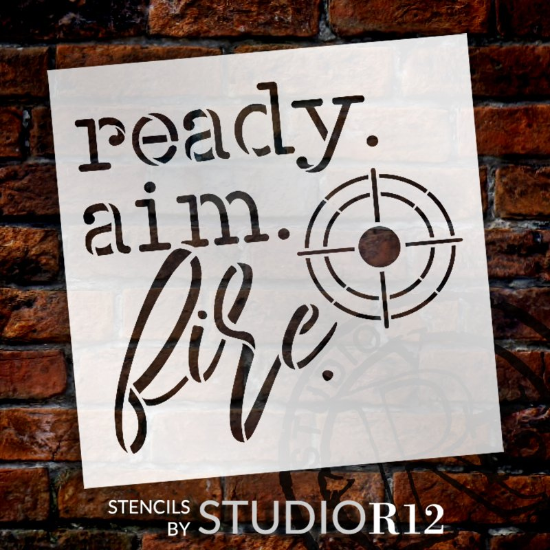 Ready Aim Fire Stencil by StudioR12   DIY Funny Toilet Humor Bathroom Home Decor   Craft & Paint Crosshairs Wood Sign for Men's Restroom   Select Size