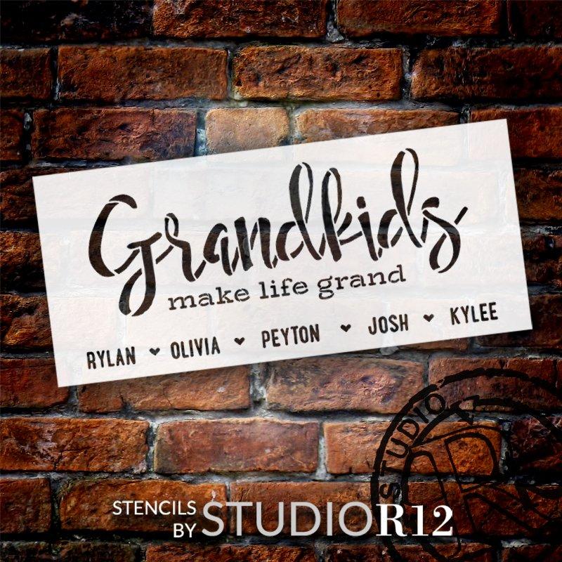 Personalized Grandkids Make Life Grand Stencil by StudioR12   Custom Grandchild Names   DIY Grandparents Home Decor   Select Size