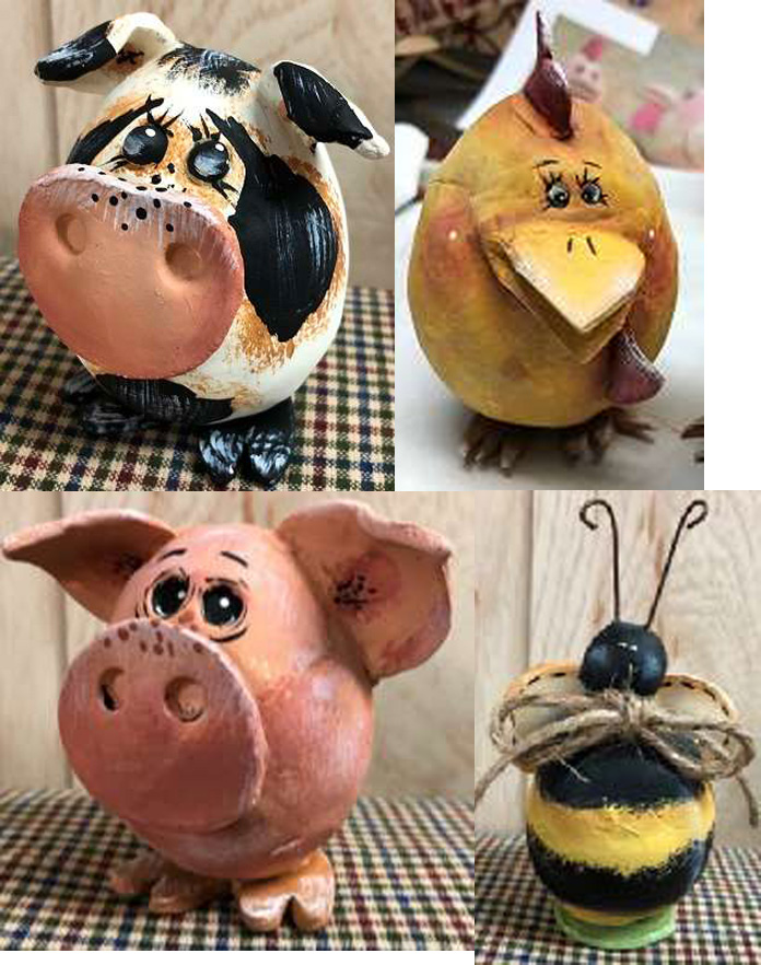 Whimsical Farm Critters and a Bee - E-Packet - Betty Bowers