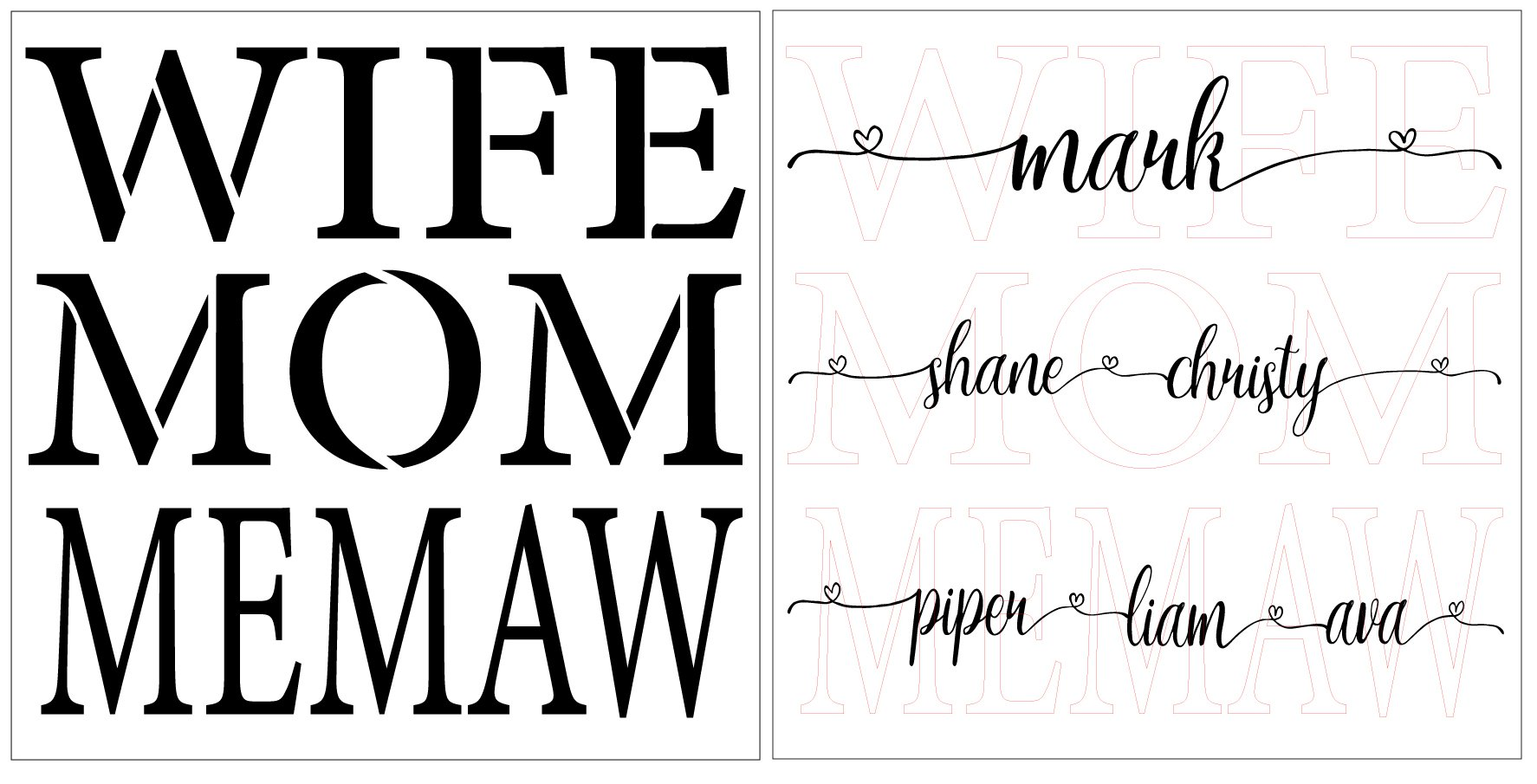 Personalized Wife Mom Grandma 2 Part Stencil by StudioR12   Paint Custom Mother's Day Sign   DIY Simple Script Home Decor   Select Size