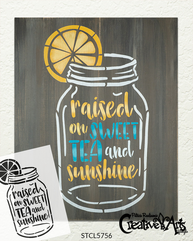 Raised on Sweet Tea & Sunshine Stencil by StudioR12 | DIY Farmhouse Lemon Home Decor | Paint Mason Jar Wood Signs | Select Size