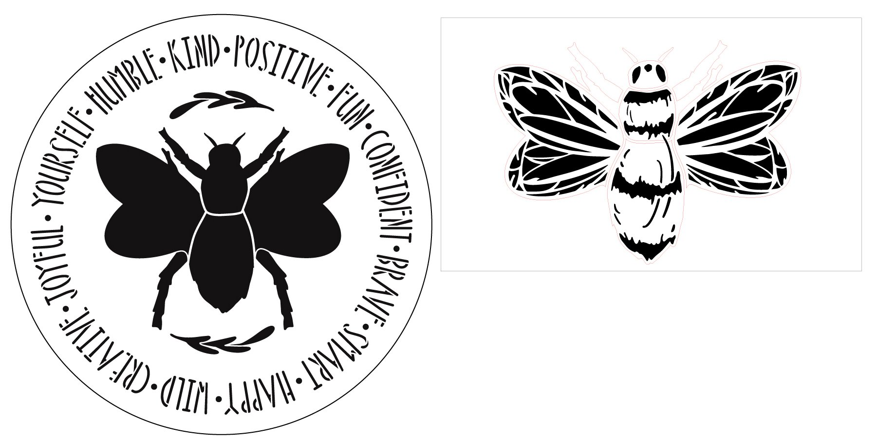 2 Part Bee Stencil with Positive Affirmations by StudioR12 | DIY Inspirational Spring Home Decor | Craft & Paint Signs | Select Size