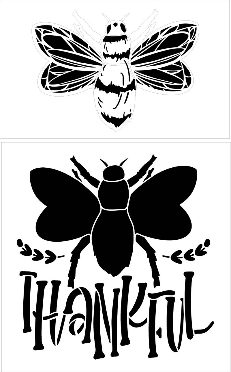 Be Thankful 2 Part Bee Stencil by StudioR12 | DIY Farmhouse Home & Bumble Bee Kitchen Decor | Craft & Paint Wood Signs | Select Size