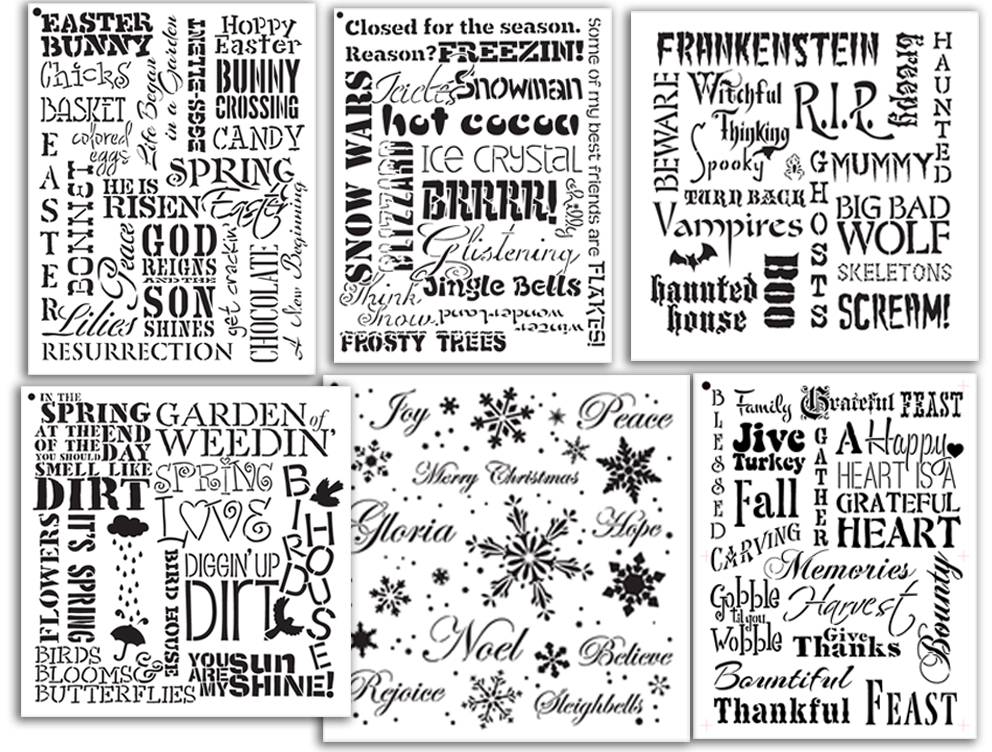 Seasonal Background Words Stencil Set | CMBN546