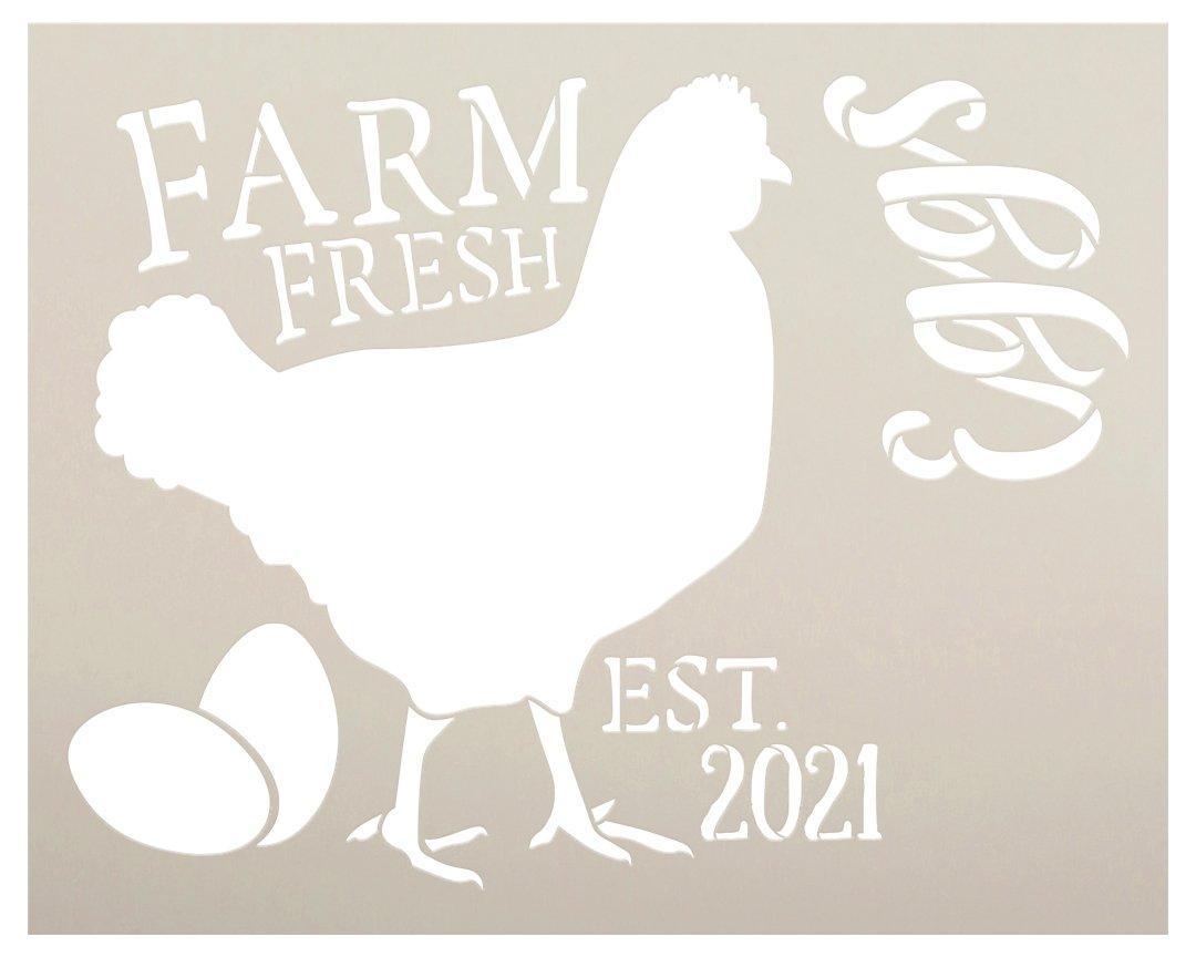 Personalized Farm Fresh Eggs Stencil by StudioR12   Custom Established Date   DIY Farmhouse Chicken Decor for Kitchen   Select Size