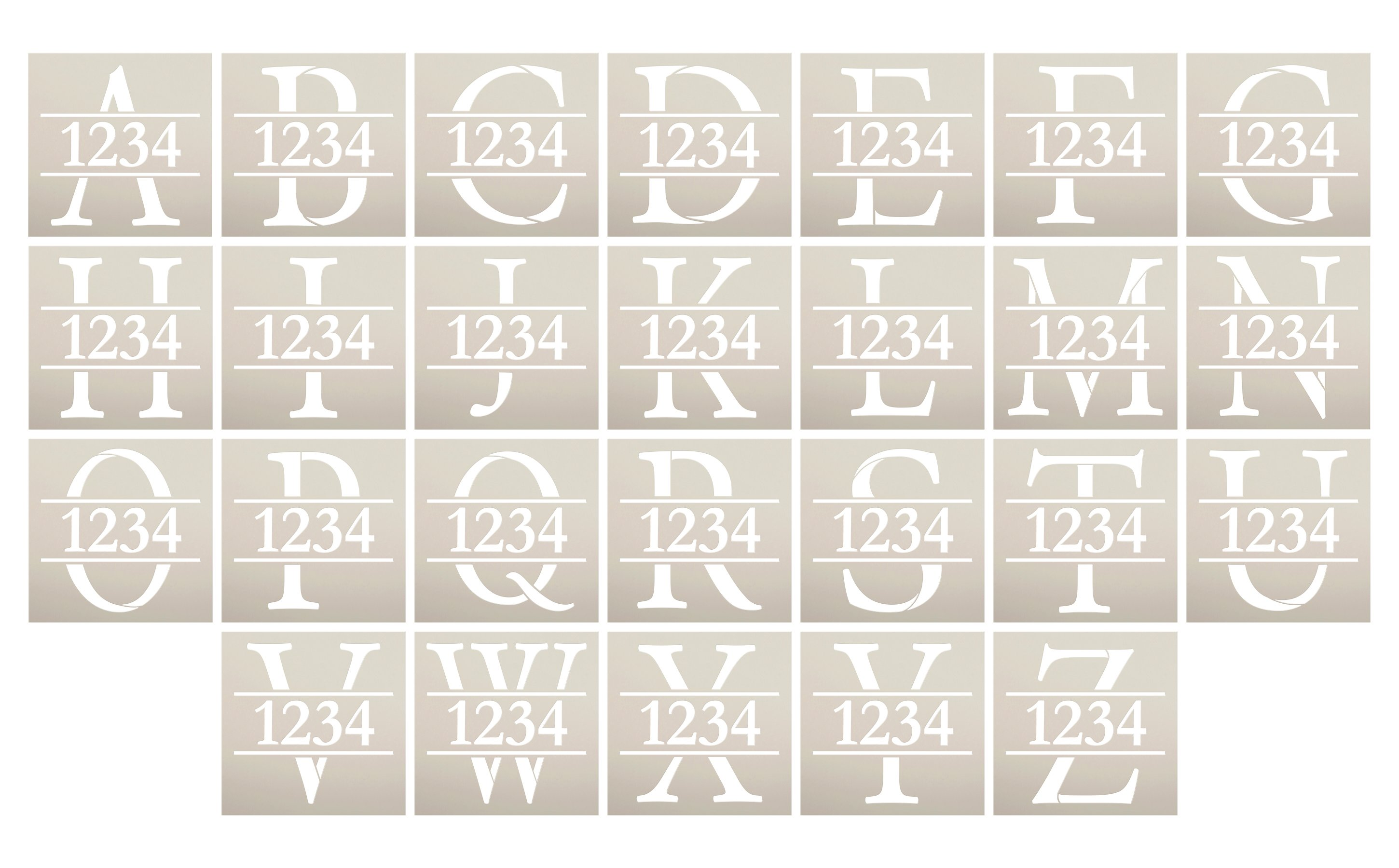 Personalized Monogram Address Stencil by StudioR12   Paint Custom House Number Wood Sign   DIY Initial Letter Home Decor   Select Size