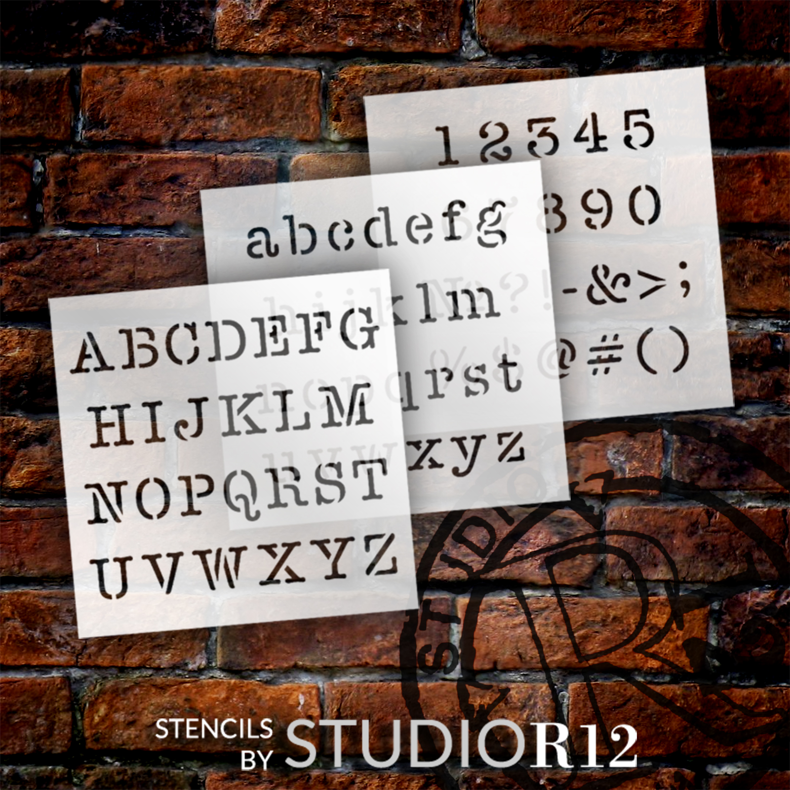 Typewriter Font Letter Stencil by StudioR12 | Alphabet Stencils for Journaling | Vintage Style Lettering Stencils | Select Size