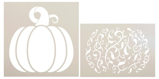 Victorian Vine Pumpkin 2 Part Stencil by StudioR12 | DIY Fall Home & Kitchen Decor | Craft & Paint Wood Signs for Autumn | Size 14 x 14 inches