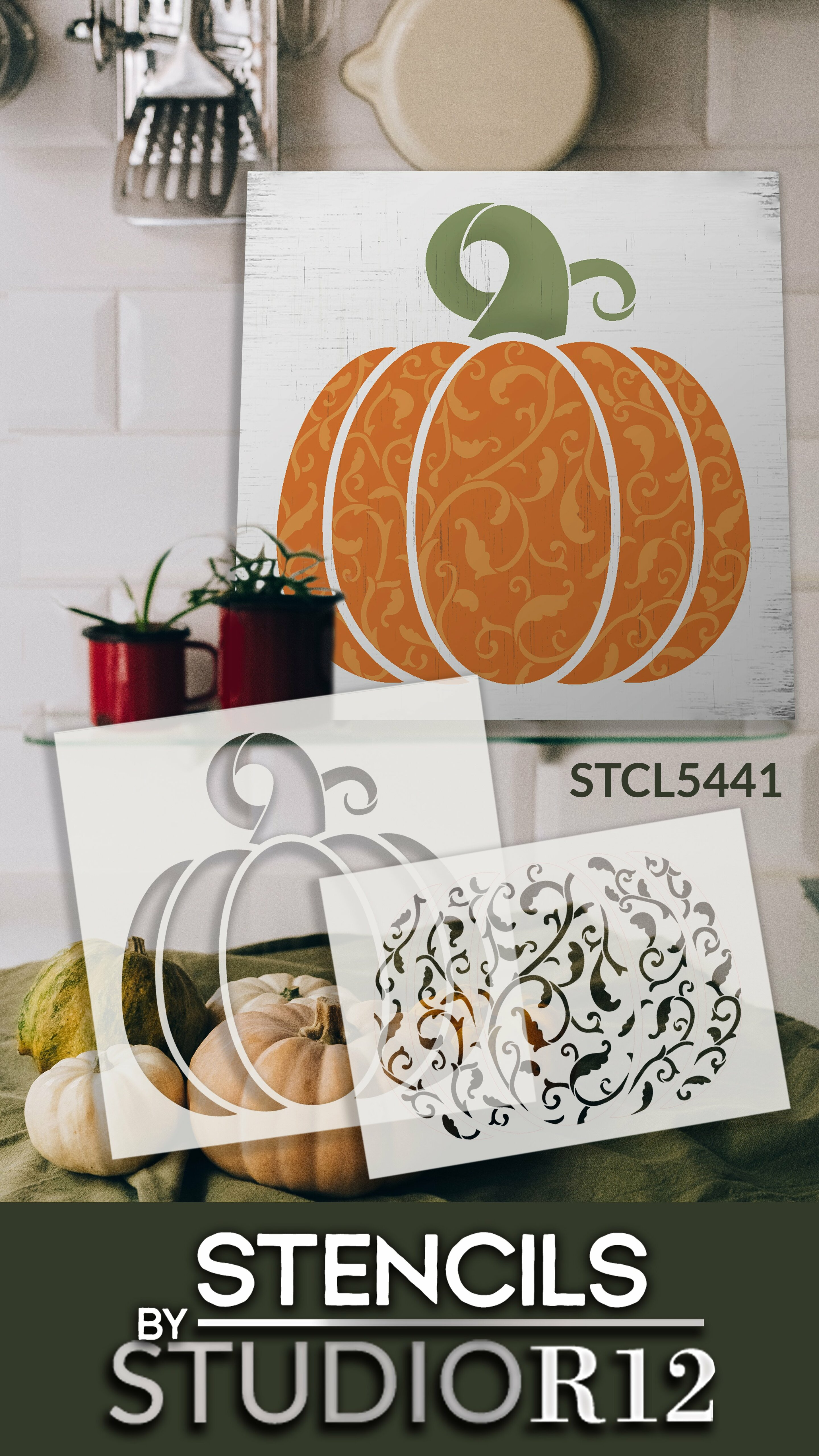 Victorian Vine Pumpkin 2 Part Stencil by StudioR12   DIY Fall Home & Kitchen Decor   Craft & Paint Wood Signs for Autumn   Size 14 x 14 inches