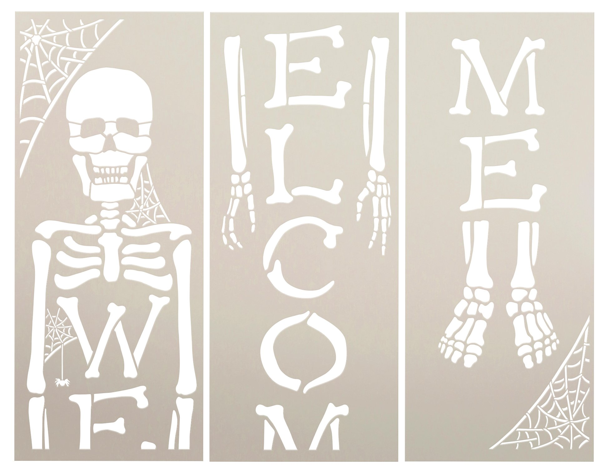 Skeleton Welcome Stencil with Spider Webs by StudioR12 | DIY Halloween Tall Porch Sign | Craft & Paint Fall Wood Leaner Signs | Select Size