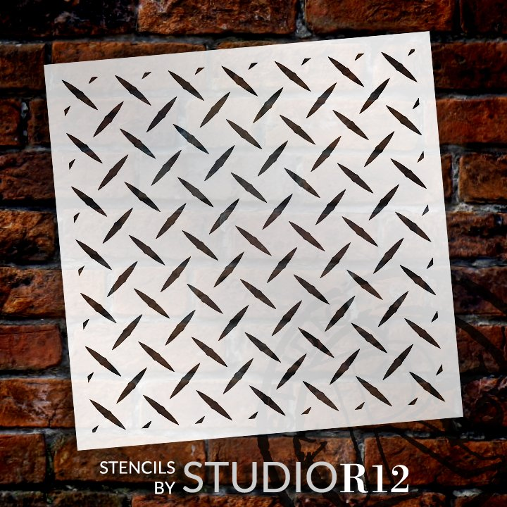 Diamond Plate Stencil by StudioR12 | Geometric Repeatable Pattern Stencils for Painting | Reusable Mixed Media Template | Select Size