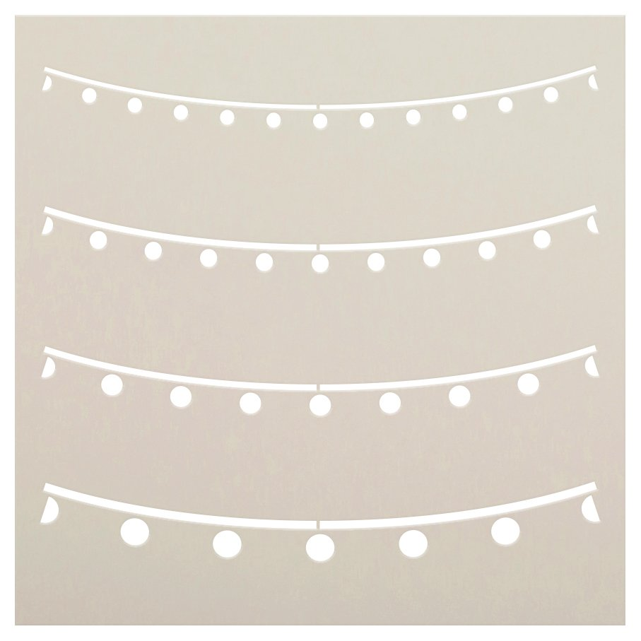 Party String Lights Pattern Stencil by StudioR12   Decorative Stencils for Painting   Reusable Mixed Media Template   Select Size