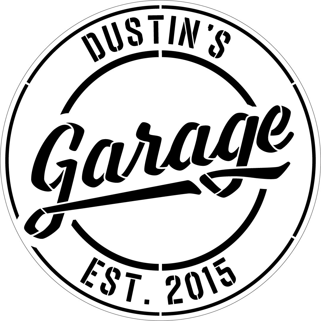 Personalized Garage Sign Stencil by StudioR12   DIY Workshop & Man Cave Decor   Paint Custom Wood Signs for Father's Day   Select Size