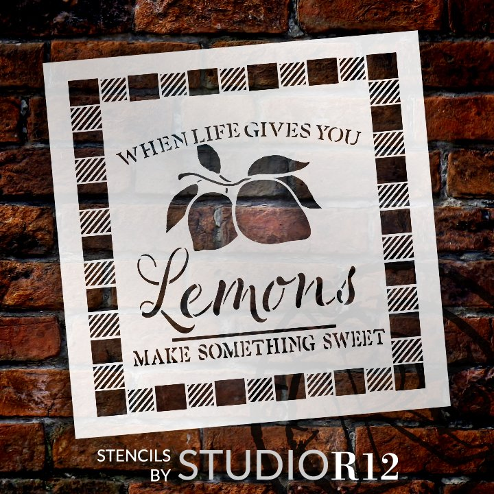 When Life Gives You Lemons Stencil with Plaid Check by StudioR12     DIY Lemon Kitchen Decor   Craft & Paint Wood Signs   Select Size