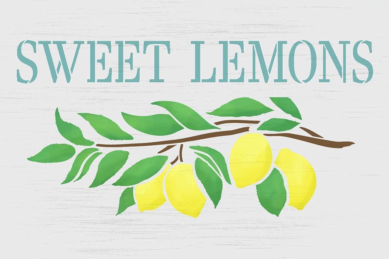 Sweet Lemons Stencil by StudioR12 | Farmhouse Lemon Tree Branch | DIY Spring Home & Kitchen Decor | Paint Wood Signs | Select Size