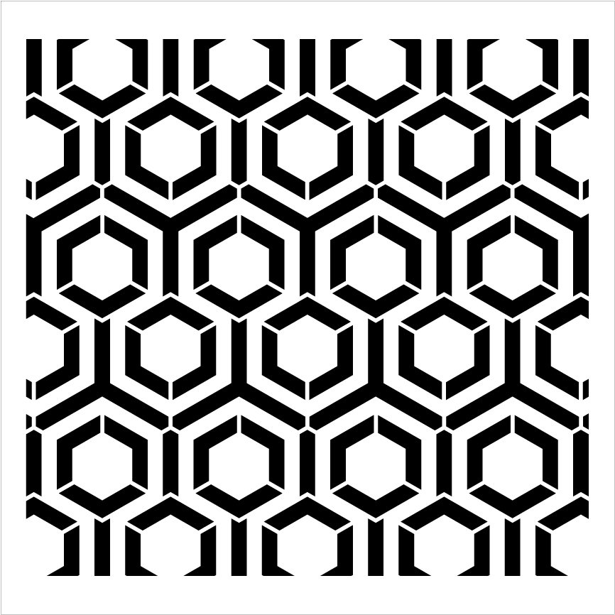 Radiating Hexagon Stencil by StudioR12   Geometric Repeatable Pattern Stencils for Painting   Reusable Mixed Media Template   Select Size