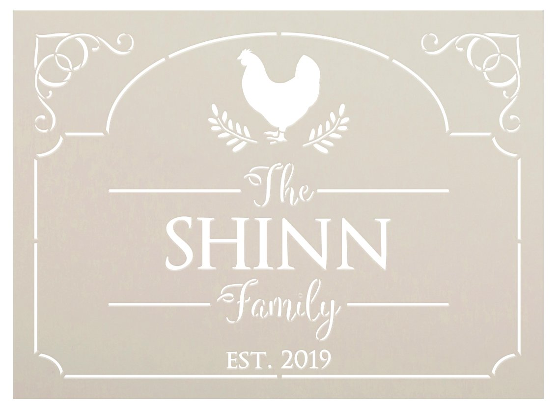 Personalized Family Name Stencil with Chicken by StudioR12   DIY Farmhouse Kitchen & Home Decor   Paint Custom Wood Signs   Select Size