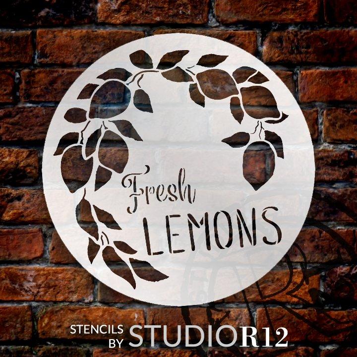 Fresh Lemons Stencil by StudioR12 | Farmhouse Lemon Tree Branch | DIY Spring Home & Kitchen Decor | Paint Wood Signs | Select Size