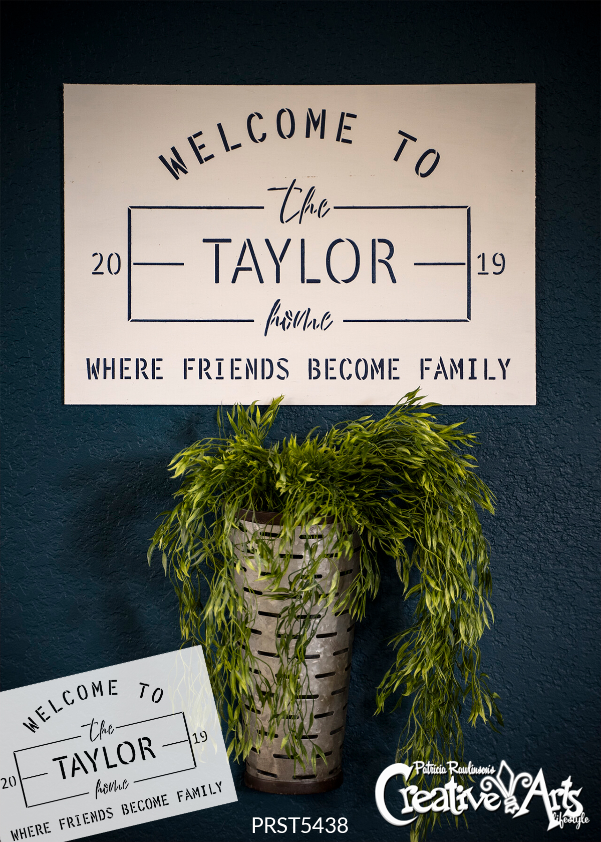 Personalized Family Welcome Stencil by StudioR12 | DIY Industrial Farmhouse Home Decor | Craft & Paint Custom Wood Signs | Select Size