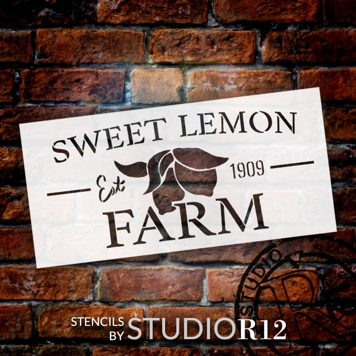 Sweet Lemon Farm Stencil by StudioR12 | DIY Farmhouse Lemon Kitchen Decor | Craft & Paint Country Wood Signs | Select Size