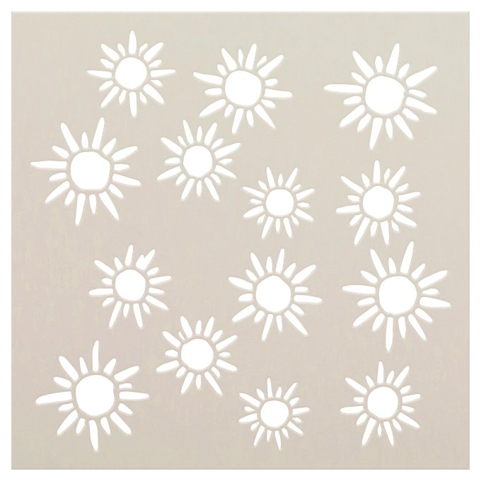 Hand-Drawn Sunshine Pattern Stencil by StudioR12 | DIY Cute Sunny Doodle Home Decor | Craft & Paint Wood Sign | Reusable Mylar Template | Select Size
