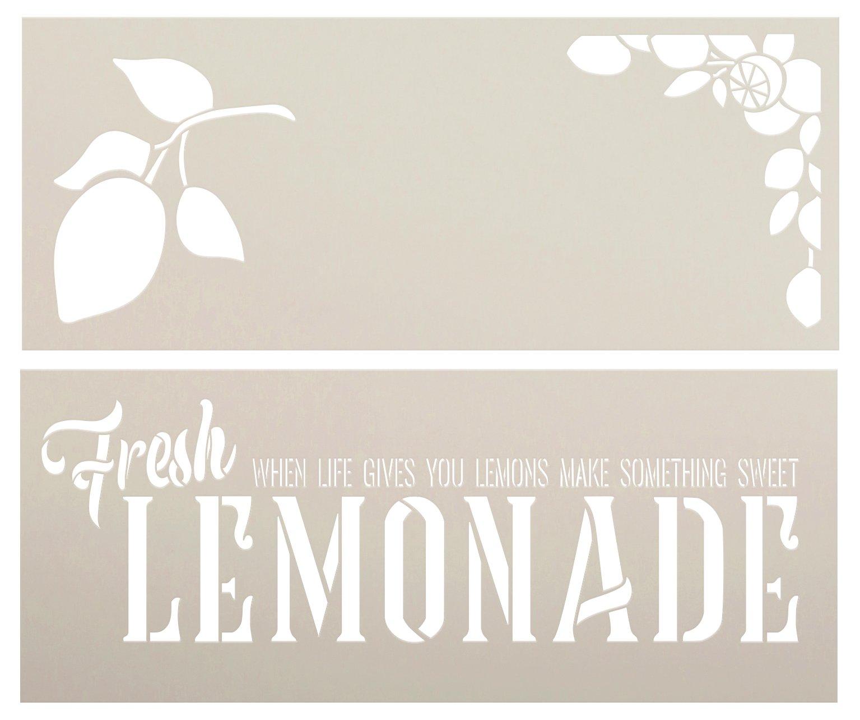 Fresh Lemonade 2 Part Stencil by StudioR12   When Life Gives You Lemons   DIY Lemon Kitchen Decor   Paint Wood Signs   Select Size