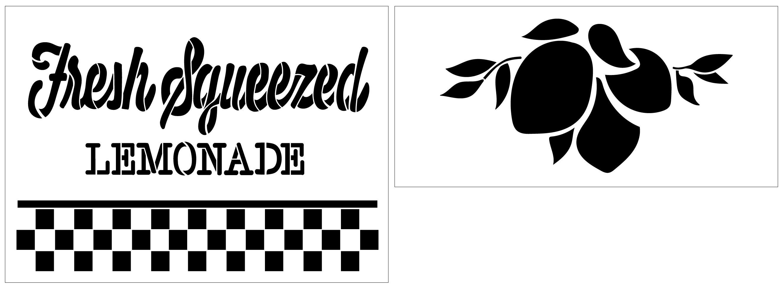 Fresh Squeezed Lemonade 2 Part Stencil with Buffalo Plaid by StudioR12 | DIY Lemon Kitchen Decor | Paint Wood Signs | Select Size