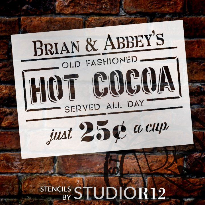 Personalized Old Fashioned Hot Cocoa Stencil by StudioR12 | DIY Custom Christmas Home Decor | Paint Wood Signs | Select Size