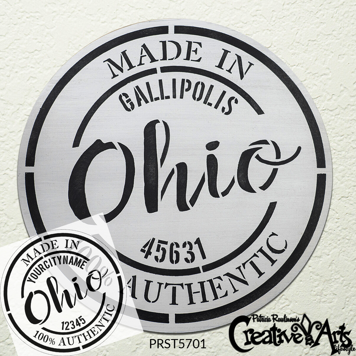 Personalized State Stamp Stencil by StudioR12   Custom Hometown Branded Emblem   DIY Home Decor   Paint Wood Sign   Select State & Size