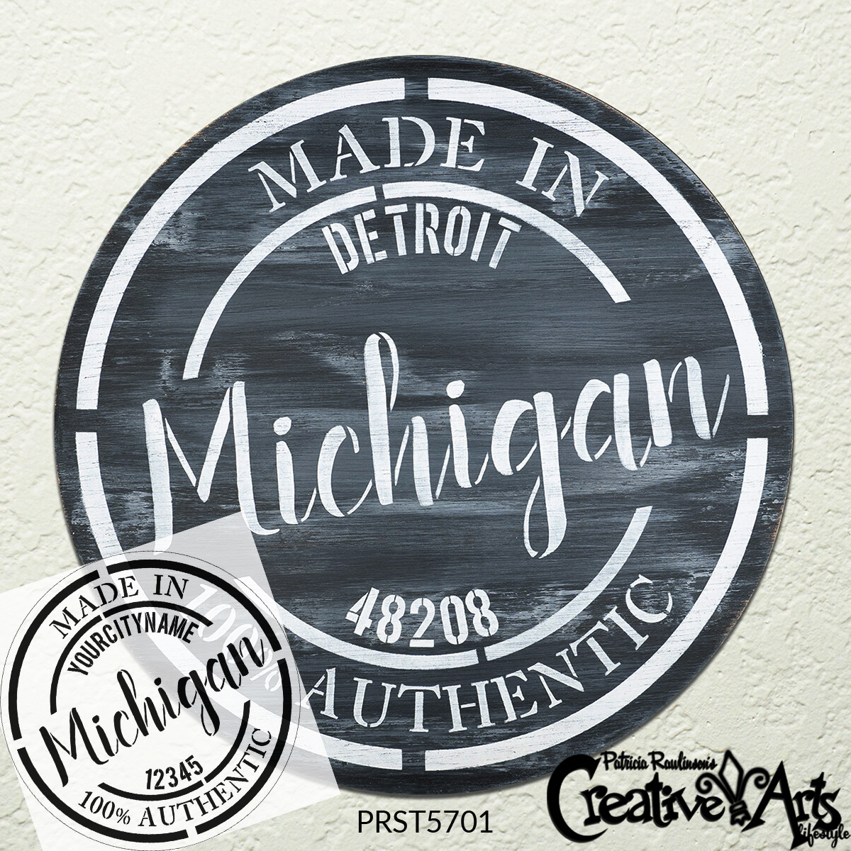 Personalized State Stamp Mini Stencil by StudioR12   Extra Small   Custom Hometown Branded Emblem   DIY Home Decor   Select State