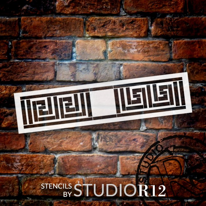 Greek Key Line Pattern Stencil by StudioR12   DIY Seamless Border Home Decor   Craft & Paint Wood Sign   Reusable Mylar Template   Select Size