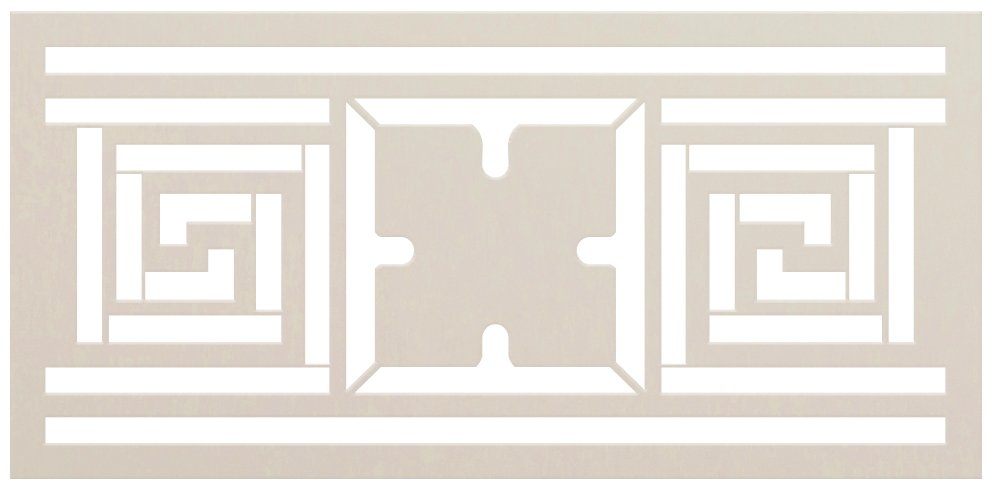 Meander Floral Square Pattern Stencil by StudioR12 | DIY Greek Border Home Decor | Craft & Paint Wood Sign | Reusable Mylar Template | Select Size
