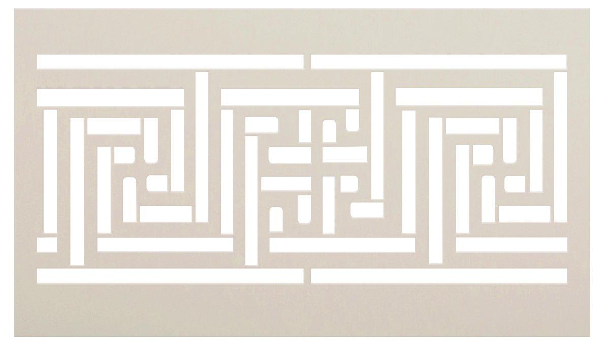 Offset Line Spiral Pattern Stencil by StudioR12 | DIY Greek Key Border Home Decor | Craft & Paint Wood Sign | Reusable Mylar Template | Select Size