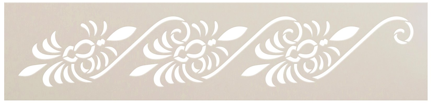 Floral Ornamental Border Stencil by StudioR12 | DIY Greek Seamless Pattern Home Decor | Craft & Paint Wood Sign Reusable Mylar Template | Select Size